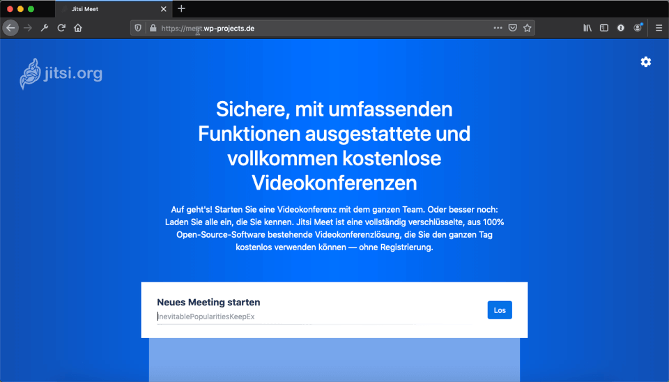Screenshot der Startseite von meet.wp-projects.de